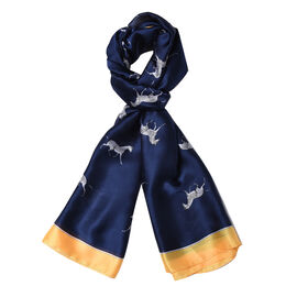 Navy and Yellow Colour Zebra Pattern Scarf (Size 90x180 Cm)