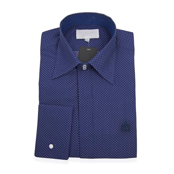 William Hunt - Saville Row Forward Point Collar Dark Blue Shirt (Size 15)
