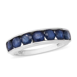 2.63 Ct Kanchanaburi Blue Sapphire Half Eternity Band Ring in Rhodium Plated Sterling Silver