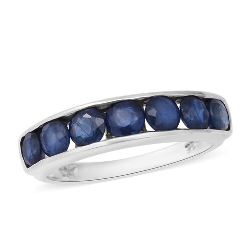 2.63 Ct Kanchanaburi Blue Sapphire Half Eternity Band Ring in Rhodium Plated Sterling Silver