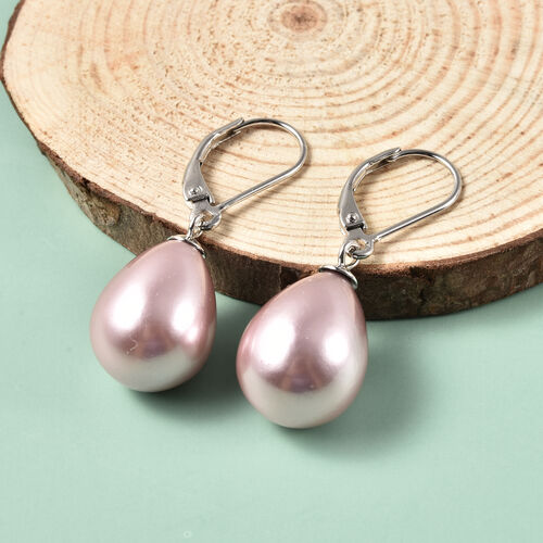 MP Purple Shell Pearl Lever Back Drop Earrings in Rhodium Overlay Sterling Silver