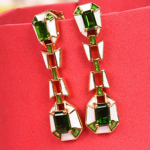 Russian Diopside Enamelled Earrings (with Push Back) in 14K Gold Overlay Sterling Silver 1.75 Ct, Silver wt 5.07 Gms