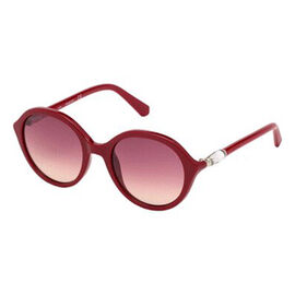 SWAROVSKI Round Red Sunglasses With Red Lenses And Large Crystal On Temple