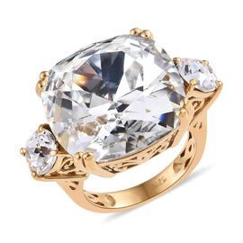 J Francis White Crystal from Swarovski Trilogy Design Ring in Gold Plated Silver 4.80 Grams