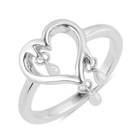 LucyQ Open Heart with 3 Drip Ring in Rhodium Plated Sterling Silver 3.10 Gms.