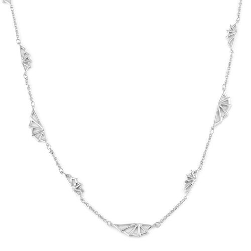 LucyQ Art Deco Necklace (Size 32) in Rhodium Plated Sterling Silver 25.93 Gms.