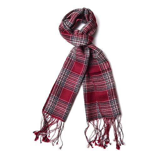 Close Out Deal -  Super Soft - 100% Wool Red, Black and Multi Colour Checks Pattern Scarf with Tasse