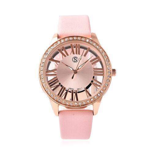 STRADA Japanese Movement White Austrian Crystal Studded Water Resistant Watch with Pink Strap in Dua