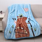 Double Layer Super Soft Flannel Blanket with Bear with Bow-Arrow Pattern and Piping (Size 105x140 Cm