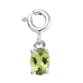 Hebei Peridot (Ovl) Charm in Platinum Overlay Sterling Silver 0.75 Ct.