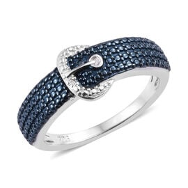 Designer Inspired- Blue and White Diamond (Rnd) Buckle Ring (Size O) in Platinum Overlay Sterling Silver