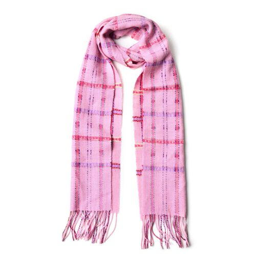 100% Wool Pink, Purple and Multi Colour Checks Pattern Scarf with Tassels (Size 170X25 Cm)