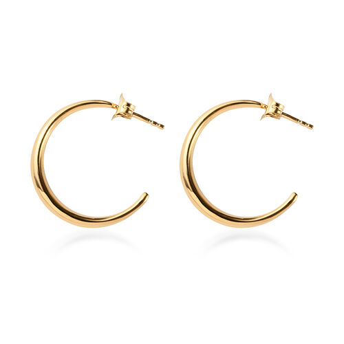 14K Gold Overlay Sterling Silver Half Hoop Earrings (with Push Back), Silver wt 6.45 Gms