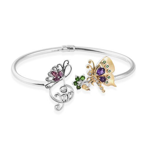 GP Amethyst and Rhodolite Garnet Multi Gemstone Butterfly Bangle in Platinum and Gold Plated Silver