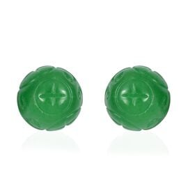 43 Ct Green Jade Ball Stud Earrings in Rhodium Plated Sterling Silver