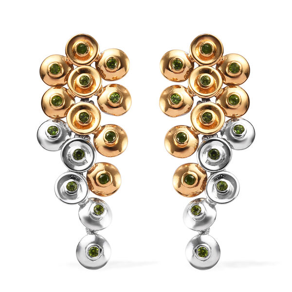 GP - Russian Diopside (Rnd), Blue Sapphire Earrings (with Push Back) in Platinum and Yellow Gold Overlay Silver wt 9.65 Gms