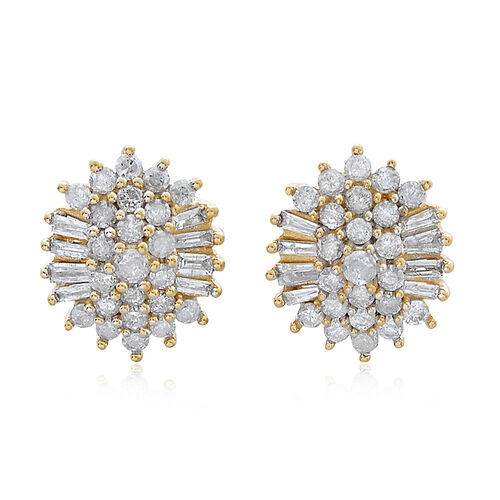 9K Yellow Gold 1 Carat Diamond Stud Cluster Earrings (with Push Back) SGL Certified I3 G-H