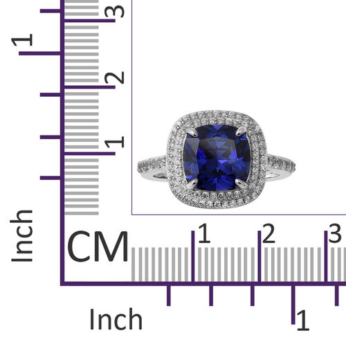 Elanza Signature Collection- Cushion Cut Tanzanite Cubic Zirconia with Cubic Zirconia Double Halo Ring in Rhodium Overlay Sterling Silver 9.02 Ct.