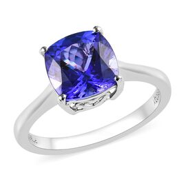 RHAPSODY 950 Platinum AAAA Tanzanite (Cush) Ring 2.50 Ct.