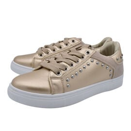 DOD- Faux Leather Studded Trainers in Gold Colour
