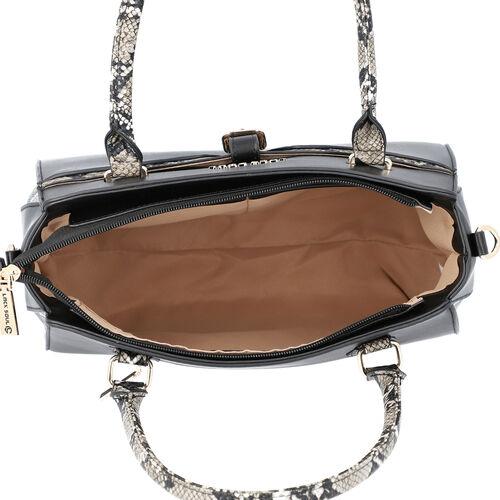 LOCK SOUL Snake Pattern Handbag with Detachable Shoulder Strap (31x14x26cm) - Black