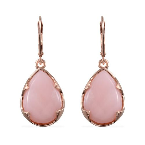 Peruvian Pink Opal (Pear) Lever Back Earrings in Rose Gold Overlay Sterling Silver 14.250 Ct.