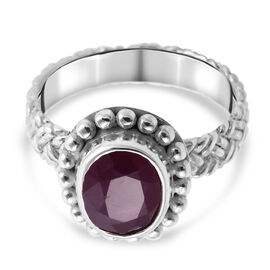 Royal Bali Collection African Ruby (FF) Ring in Sterling Silver 3.00 Ct. Silver Wt. 5.4 Gms.