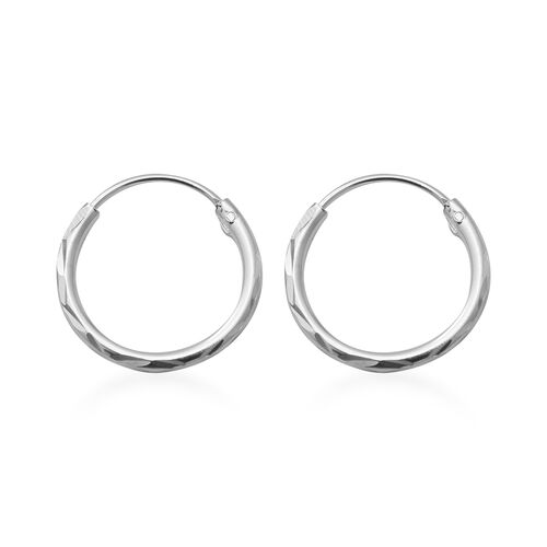 Hatton Garden Close Out Deal - Italian Made- Rhodium Overlay Sterling Silver Hoop Earrings