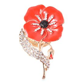 TJC Poppy Design Black and White Austrian Crystal Enamelled Poppy Brooch in Gold Tone