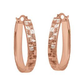 Diamond Cut Hoop Earrings in Rose Gold Plated Sterling Silver