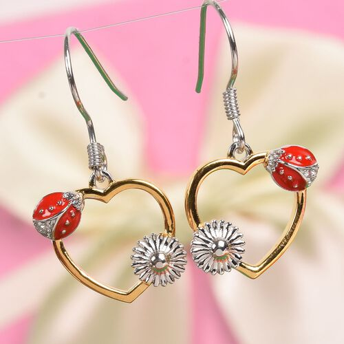Natural Cambodian Zircon Ladybird Heart Hook Earrings in Platinum and Yellow Gold Overlay Sterling Silver