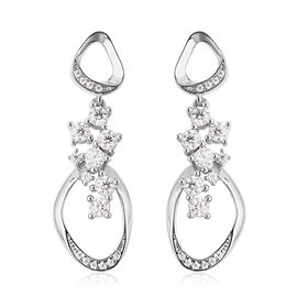 LucyQ Fluid Collection - White Moissanite Dangle Earrings (with Push Back) in Rhodium Overlay Sterli