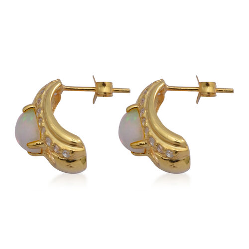 AA Ethiopian Welo Opal and Natural Cambodian Zircon Earrings (with Push Back) in Yellow Gold Overlay Sterling Silver 2.12 Ct.