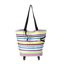 Reusable and Foldable Two Way Shopping Bag with Wheels (Size 50x20x40 Cm) - Multi