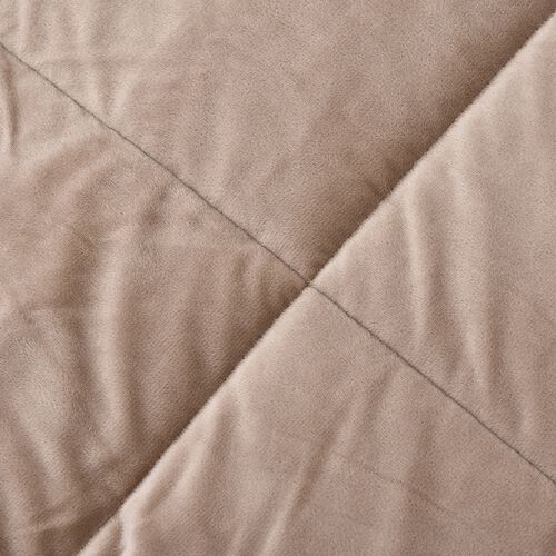 Soft and Warm Sherpa Duvet Set with Microflannel Fitted Sheet (DOUBLE) and 2 Reversible Pillow Cases, Beige
