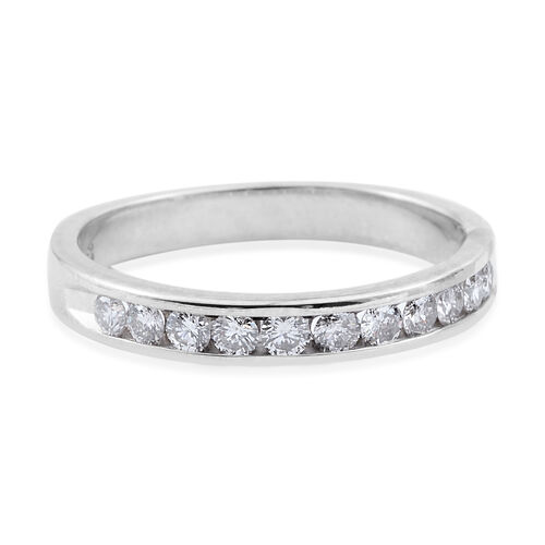 14K White Gold (I1-I2/H) Diamond (Rnd) Half Eternity Band Ring 0.500 Ct.