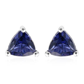 Natural Catalina Iolite (Trl) Stud Earrings (with Push Back) in Sterling Silver 0.750 Ct.