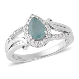 1.04 Ct Grandidierite and Zircon Halo Ring in Rhodium Plated Sterling Silver