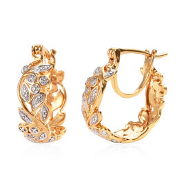 Diamond (Rnd) Full Hoop Floral Vine Earrings (with Clasp) in 14K Gold Overlay Sterling Silver