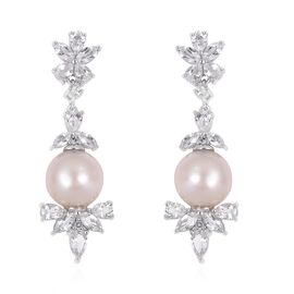 Rare Size-White South Sea Pearl (Rnd 10-10.5 mm), White Topaz Earrings (with Push Back) in Rhodium Overlay Sterling Silver.