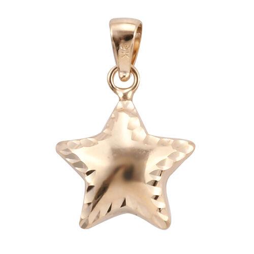 Close Out Deal - 9K Yellow Gold Diamond Cut Star Pendant