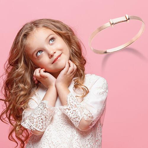 Rose Gold Overlay Sterling Silver Adjustable Shiny Bangle (Size 5), Silver wt 11.50 Gms