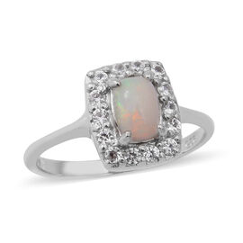 Ethiopian Welo Opal and Natural Cambodian White Zircon Ring in Rhodium Overlay Sterling Silver 1.23