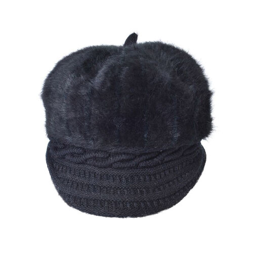 Black Colour Knitted Newsboy Hat (Size 23X16 Cm)