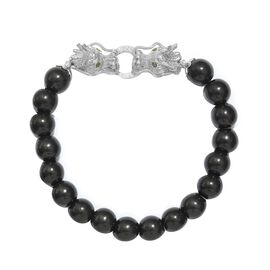 Shungite (Rnd 10mm), Russian Diopside Stretchable Dragon Head Beads Bracelet (Size 7.25) in Platinum
