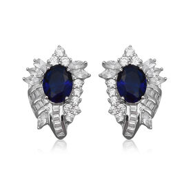 Blue Cubic Zirconia and Simulated Diamond Halo Stud Earrings in Sterling Silver 5 Grams