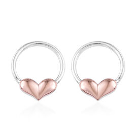 Rose Gold and Platinum Overlay Sterling Silver Earrings (with Push Back)
