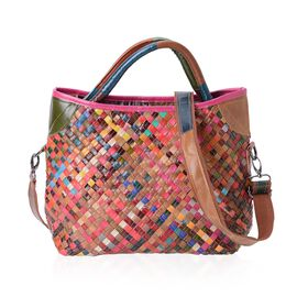Morocco Collection 100% Genuine Leather Hand Woven Tote Bag with Removable Shoulder Strap (Size 34x29x26x13 Cm)
