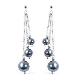 Peacock Shell Pearl (Rnd) Dangle Earrings (with Push Back) in Rhodium Ovrlay Sterling Silver