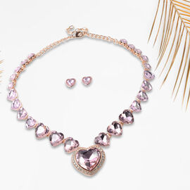 2 Piece Set - Simulated Pink Sapphire and White Austrian Crystal Heart Necklace (Size 20 with 1 inch